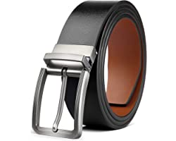 """Mens Reversible Leather Belt, BESTKEE Leather Belts for men 1.3"""" Wide with Rotated Buckle, Great for Jeans,Casual & Business"""
