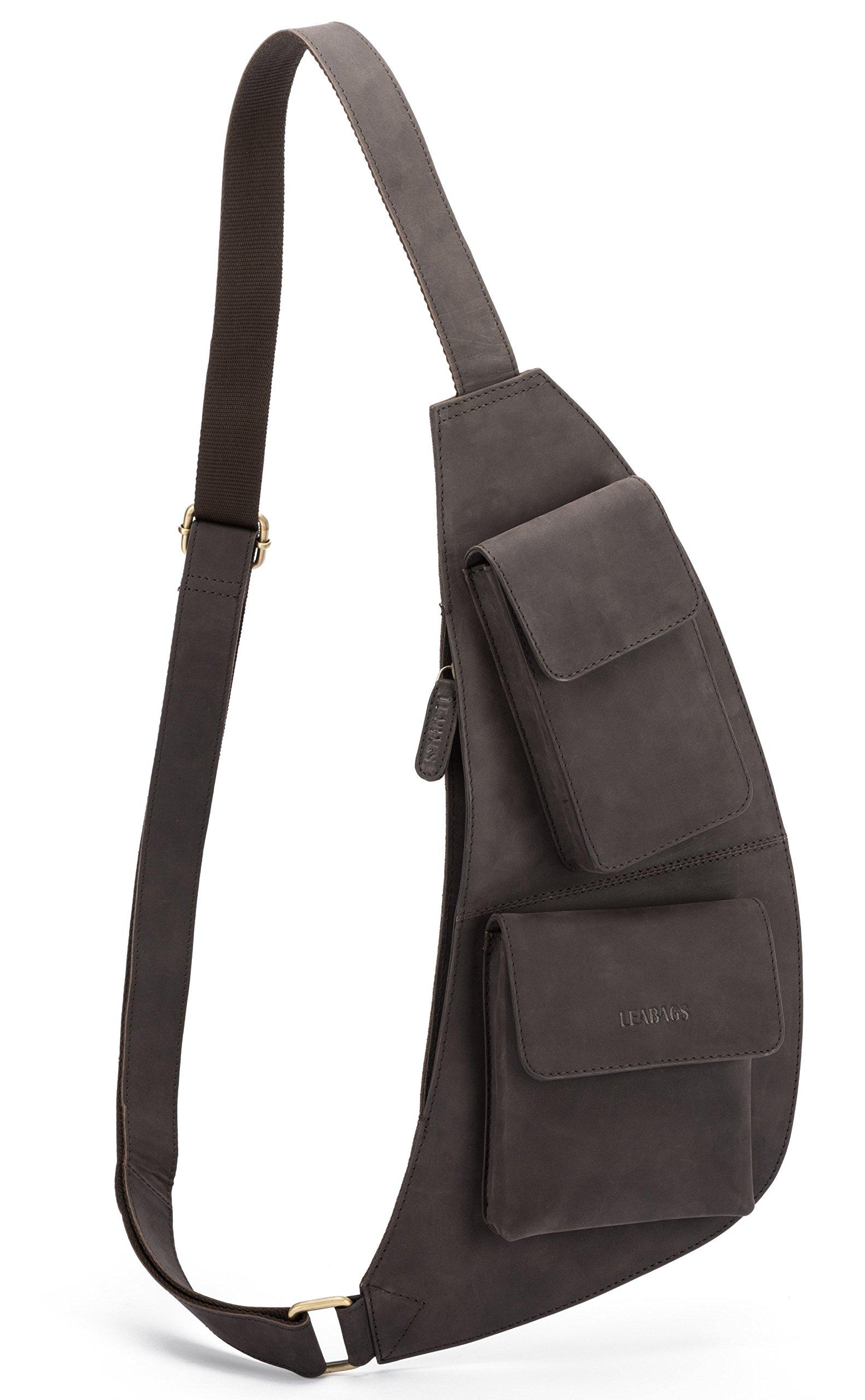 81MjWPJnJfL - LEABAGS Hamilton Bolso Pecho de auténtico Cuero búfalo en el Estilo Vintage
