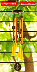 Paradigm Originals Feng Shui Items For Home Decoration Wind Chimes For Home Positive Energy For Balcony Bedroom (Golden, 8 Pipe 4 Brass Bells)