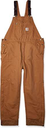 Carhartt Men's Loose Fit Washed Duck Insulated Bib Overall, Brown, 5X-Large