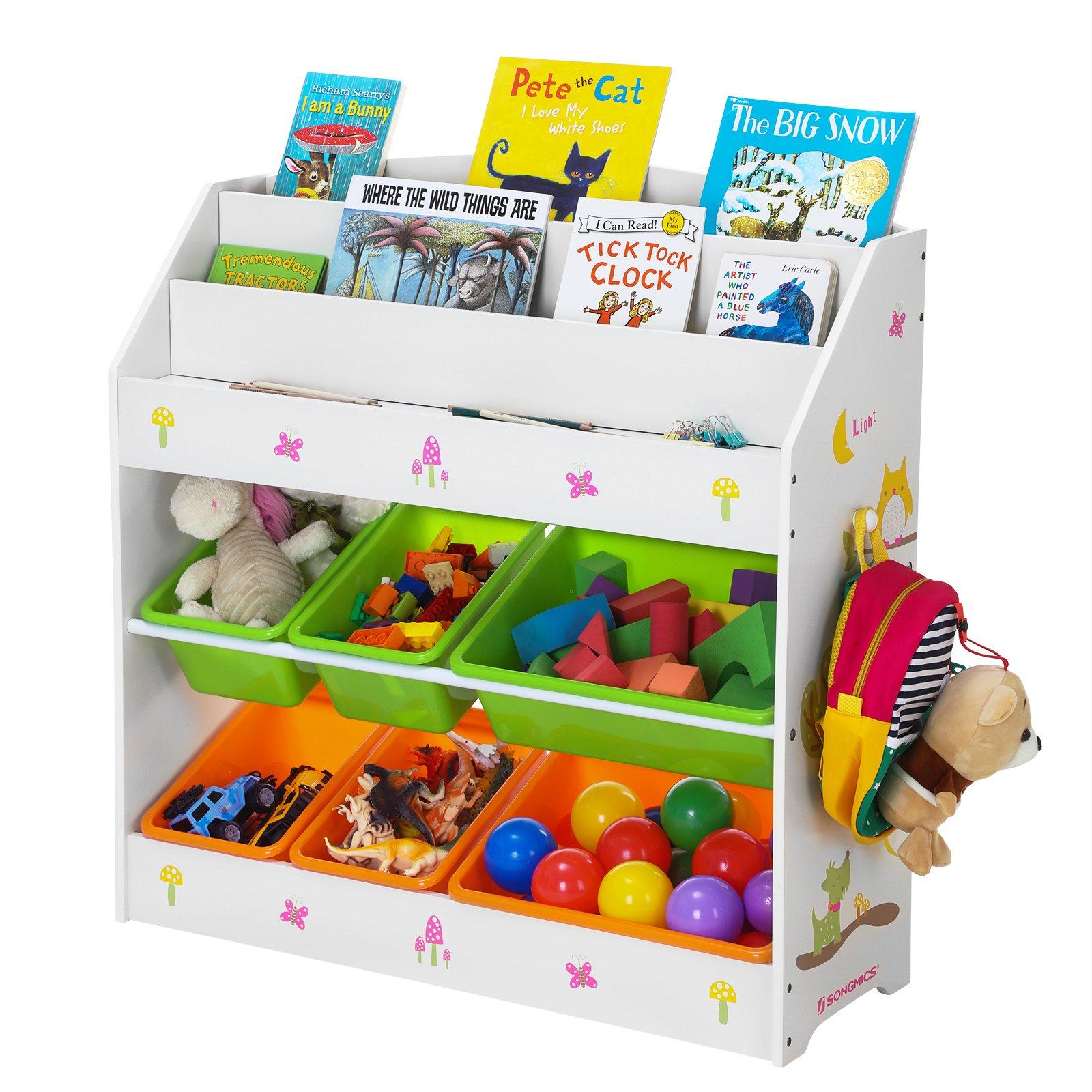 Roba scaffale per giochi per ragazzi e ragazze con 5 scatole di stoffa per bambini ripiano per la cameretta dei bambini Scaffale per giocattoli Stars