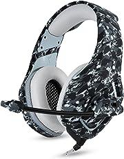 BINZI PC Camo Gaming Headset for PS4 XBOX One 3.5mm Stereo USB LED Headphones with Omnidirectional (Grey, AMZIN-ONK1B)