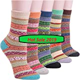 Bunte Socken | Vintage Damen Wintersocken Damensocken Frauen Wollsocken | 5er Pack | ONE SIZE | Gr. 35-42 | Warme Baumwollsocken | Strümpfe