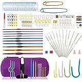 LIHAO 140pcs Tricot Crochet Laine Accessoires Trousse Complete 22pcs Aiguille à Crochet Tricoter Débutant Loisirs créatifs Ca