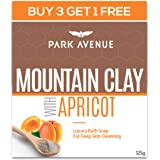 Park Avenue Mountain Clay with Apricot Soap for Deep Cleansing and Gentle Exfoliation, 125gm, Buy 3 Get 1 Free