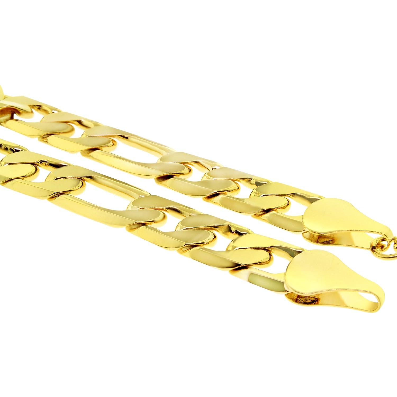 Bracelet homme , plaqué or 24 carats , Grosse chaîne figaro Hip Hop Bling, 12mm , 20cm Amazon.fr Bijoux