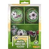 Dekoback Voetbal Decoratie Kit Voor Cupcakes, Papier, Groen/Wit, 20 x 14 x 4 cm