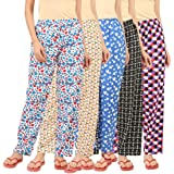 LADY WILLINGTON Womens Track Pant Lower Cotton Printed Payjama/Lounge Wear –Soft Cotton Night Wear/Pyjama for Women(Pack of 5