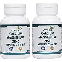 Nveda Calcium Supplement 1,000 mg with Vitamin D3, Magnesium, Zinc & Vitamin B 12 For Men & Women/ For Immunity, Bone…