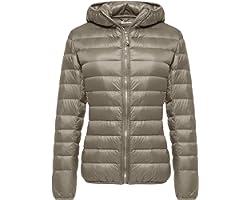 Wantdo Women's Down Jackets Packable Lightweight Hooded Puffer Coat Windproof Mountain Insulated Jacket Hooded Slim Fit Short