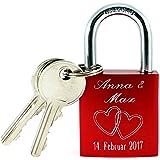 Rotes Liebesschloss mit Gravur und 2 Schlüssel Blitzversand graviertes Herz