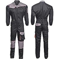 NORMAN Black/Grey Men's Work Wear Overalls Boiler Suit Coveralls Mechanics Boilersuit