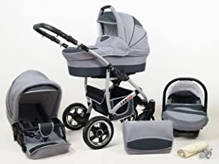 +++ SALE Raff Largo System Kinderwagen Babywagen Buggy, Autositz Kinderwagen System 3 in1 + Wickeltasche + Regenschutz +Insektenschutz