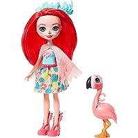 Enchantimals Mini-poupée Fanci Flamant et Figurine Animale Swash, aux cheveux rouges avec jupe à motifs en tissu, jouet…