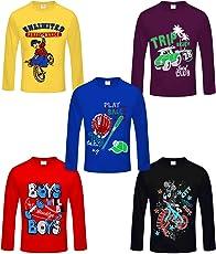 Kiddeo Boy's Cotton Full Sleeves T-Shirt - Pack of 5