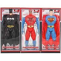 FullKart Spider-Men, Superman, Batman Super-Hero Figurine Adjustable Body Toy Set of 3 (Medium)