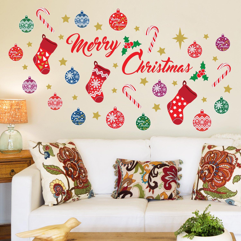Wallflexi navidad decoraciones pegatinas de pared merry christmas 39 juego de decoraci n de pared - Decoracion pared ninos ...