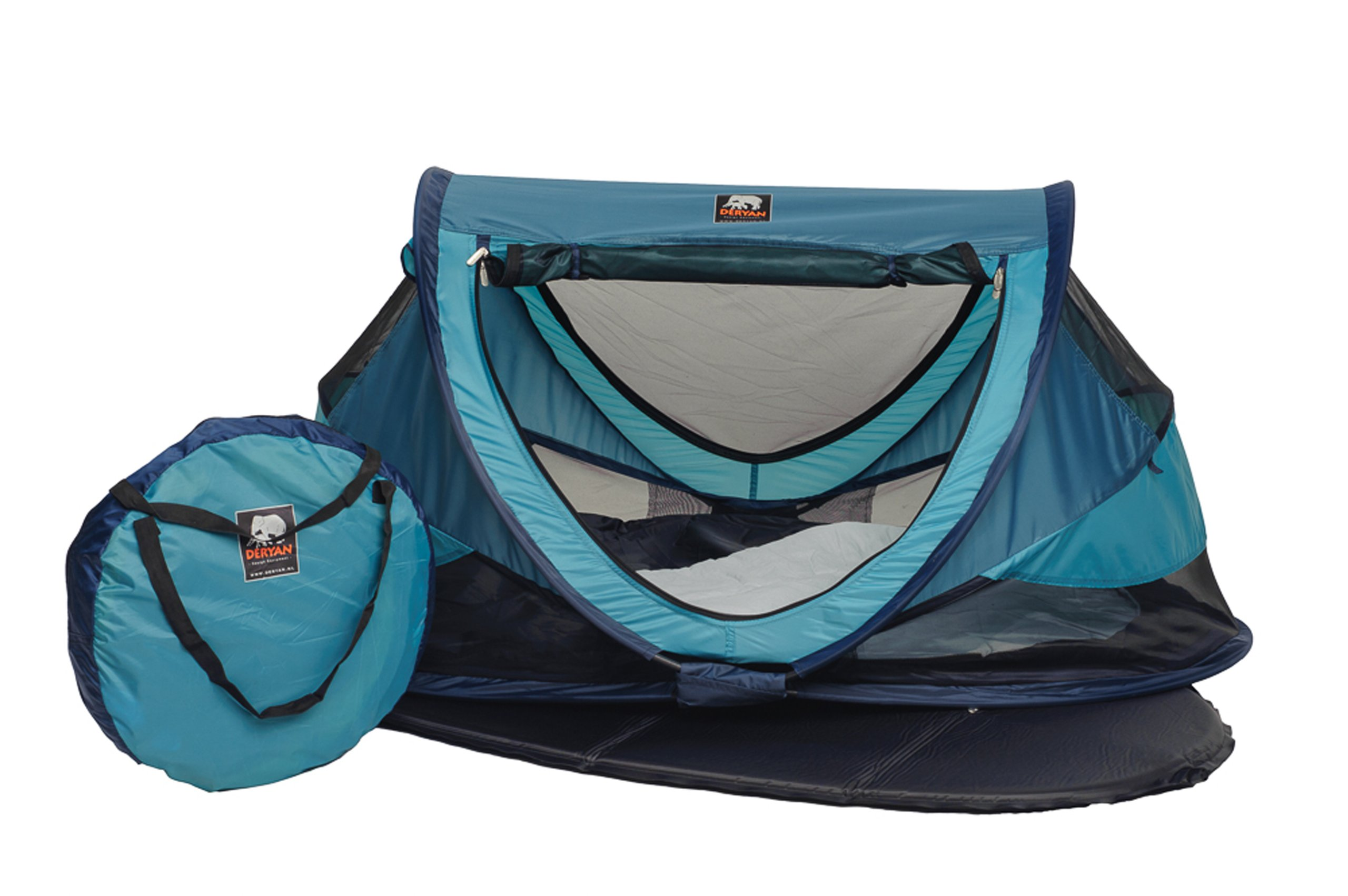 Travel Cot Peuter Luxe (Ocean) Deryan 50% UV Protection and flame retardant fabric Setup in 2 seconds and a anti-musquito net  2