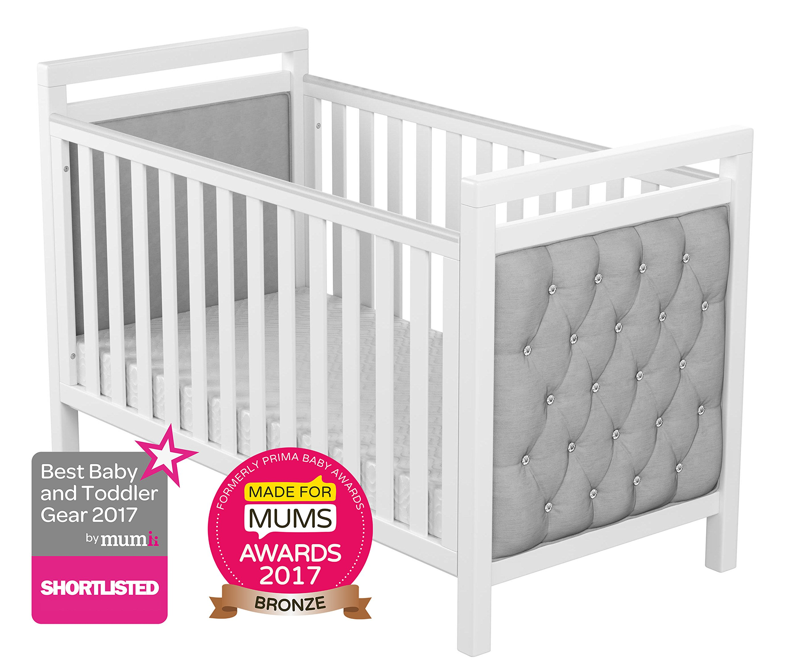 Babymore Velvet Deluxe Cot Bed  Diamante and velvet tufted upholstery Distinctive design for nursery Generous 5 cm solid wood structure, last for years of use 1