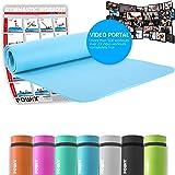 POWRX Gymnastikmatte Yogamatte inkl. Workout & Schultertragegurt I Trainingsmatte Phthalatfrei 183 x 60 x 1 cm I Matte hautfreundlich I versch. Farben