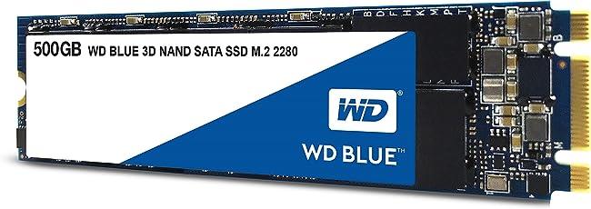 WD Blue 3D NAND 500 GB SATA SSD, Interne M.2 2280 Festplatte bis zu 560 MB/s Lese- und 530 MB/s seq. Schreibgeschwindigkeit
