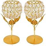 Obbi Crystal Rose Brass Candle Holder for Decoration - Set of 2