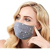 Lilind Maschera per il viso alla Moda, Handmade, Riutilizzabile, 100% Cotone, Motivo a Stella Grigia