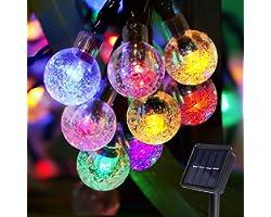 Catena Luminosa Esterno Solare, Damtong 100 Leds 12M Multicolori Cristallo Globo Luce Stringa, 8 Modalità Impermeabile Luci S