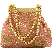 Heart Home Polyester Embroidered Potli Batwa Pouch Bag for Women (Peach) HEART2869