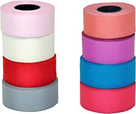 Satin Grosgrain fabric ribbons for floral decorations- 8 colours- 5 meters each colour- total 40 meters ribbon