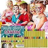 HENMI Pinturas Cara para Niños Seguridad no tóxica Pintura Facial, 28 Colores Crayons de Pintura Ajuste Halloween, Fiestas, S