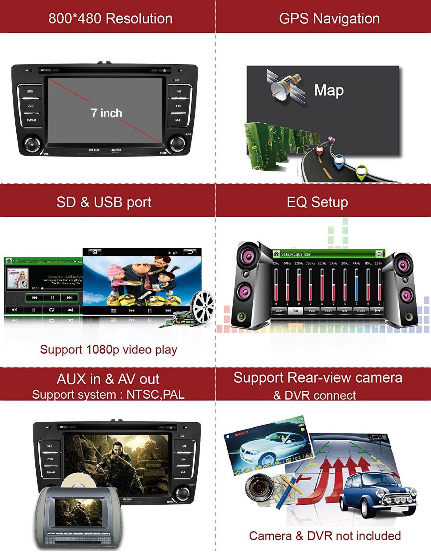 Yingly-7-Zoll-2-Din-Autoradio-fr-Skoda-Octavia-2009-2013-mit-Wince-System-DVD-Player-GPS-Navigation-Radio-Bluetooth-untersttzt-Park-Kamera-Lenkrad-Bedienung-1080P-Video-8GB-Kartenmaterial