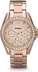 Fossil Riley Damen-Uhr/Elegante Edelstahl Armbanduhr mit Strasssteinen - wasserfestes Quarz Uhrwerk inkl. Wochentags- & Datumsanzeige