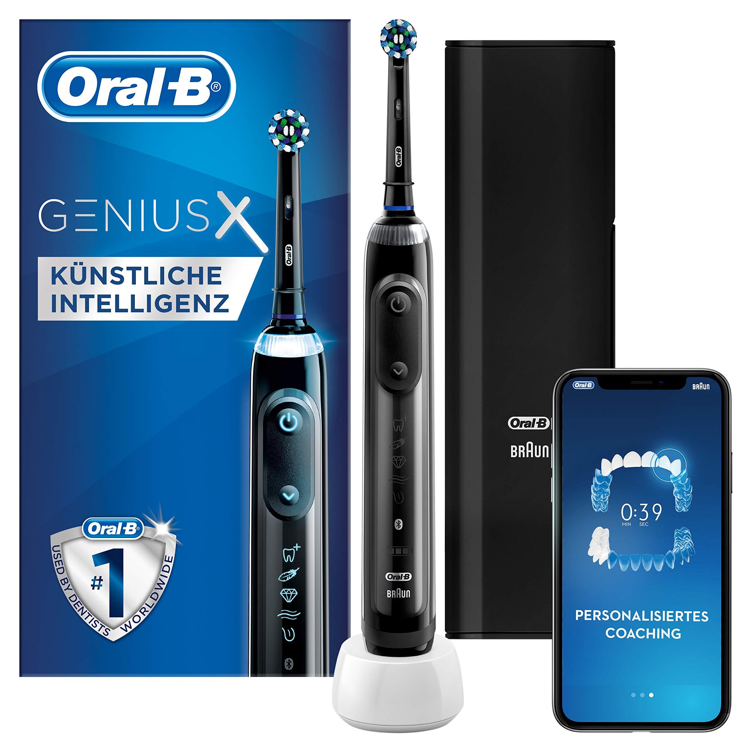 Oral-B Genius X 20000N black, Elektrische Zahnbürste, mit künstlicher Intelligenz und Premium Lade-Reise-Etui, midnight black
