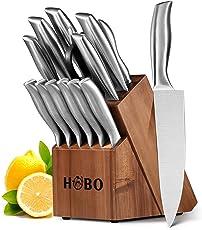 Messerblock, HOBO 14-teiliges Küchenmesser-Set mit Holzblock, Messer-Set, selbstschärfend für Kochmesser-Set, Edelstahl, Komplett-Messer-Sets