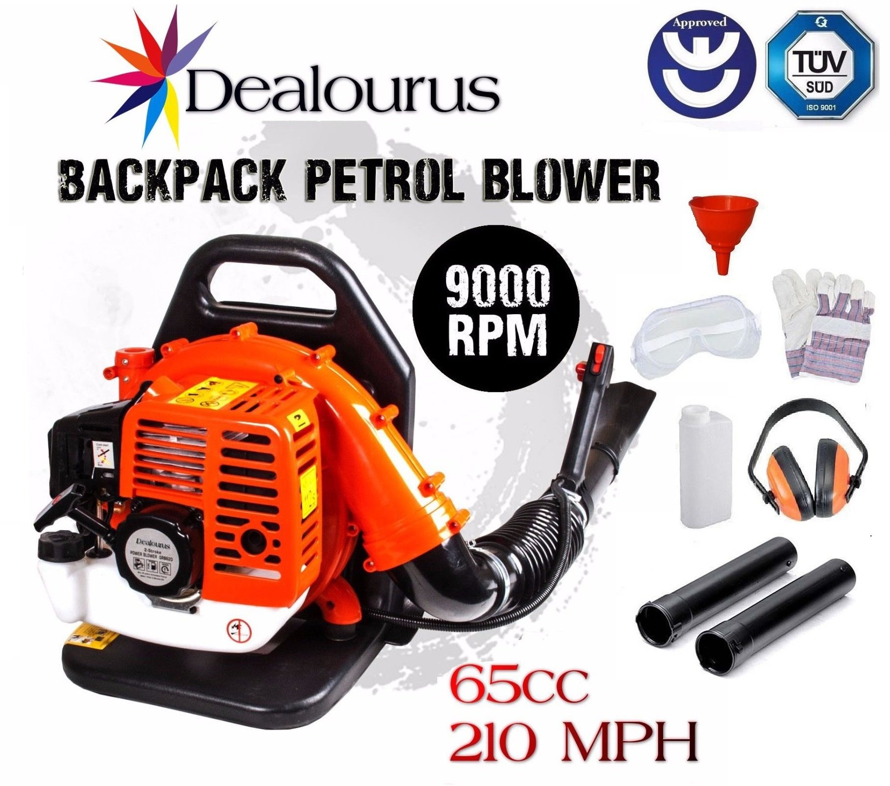 Dealourus 2019 75cc Petrol Backpack Leaf Blower, Extremely Powerful – 240MPH Lightweight With New and Improved Padded…