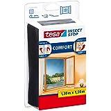 Tesa 55343 Insect Stop Attacca & Stacca Comfort per Finestre-Rete per Zanzariere con Nastro Adesivo a Strappo-Antracite, 130