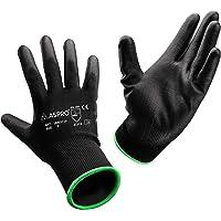 ASPRO Work and Gardening Gloves - Black Nylon PU Coated Workwear Gloves for Builder, Gardener, Mechanic, Construction…