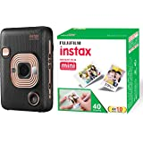 FUJIFILM Instax Mini LiPlay Hybrid Instant Camera (Elegant Black) and Fujifilm Instax Mini Picture Format Film - Value Pack 4