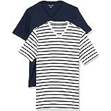 Amazon Essentials Slim-Fit Short-Sleeve V-Neck T-Shirt Hombre, Pack de 2