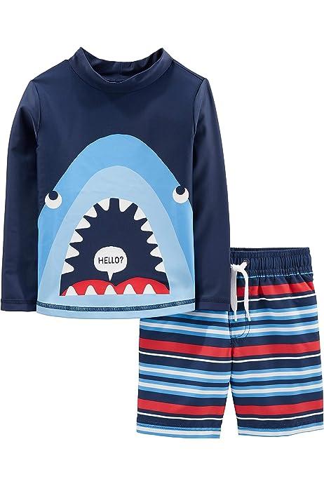 ,Stripe Tiger Whale Pelele de beb/é 0-3 Meses Simple Joys by Carters 3 unidades