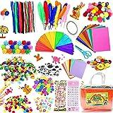COTTONIX 1100+pcs Bricolage Enfant Pipe Cleaners Crafts Set, DIY Activites Manuelles pour Enfants Comprenant Cure Pipes, Pomp