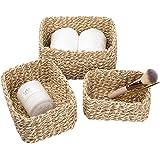 La Jolíe Muse Opbergmand, set van 3 geweven recyclebaar papiertouw, opbergdozen voor accessoires make-up geel en wit