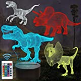 Cadeaux de dinosaure, veilleuse 3D de T-rex pour enfants (4 modèles) avec télécommande et 16 couleurs changeantes et fonction