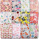 Littles & Bloomz, Reusable Pocket Cloth Nappy, Fastener: Hook-Loop, Set of 12, Patterns 1201, with 12 Bamboo Inserts
