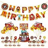 Xinqin 46 pièces Décorations Ballons Autopompe Pompier + Bannière Anniversaire Camion de Pompier Anniversaire + Gâteau Topper