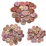 TUT 150pcs Bottoni Rotondi Vintage in Legno, Bottoni in Legno a Due Occhi Dipinti e Stampati, Colori Misti Fai-da-Te e Botton