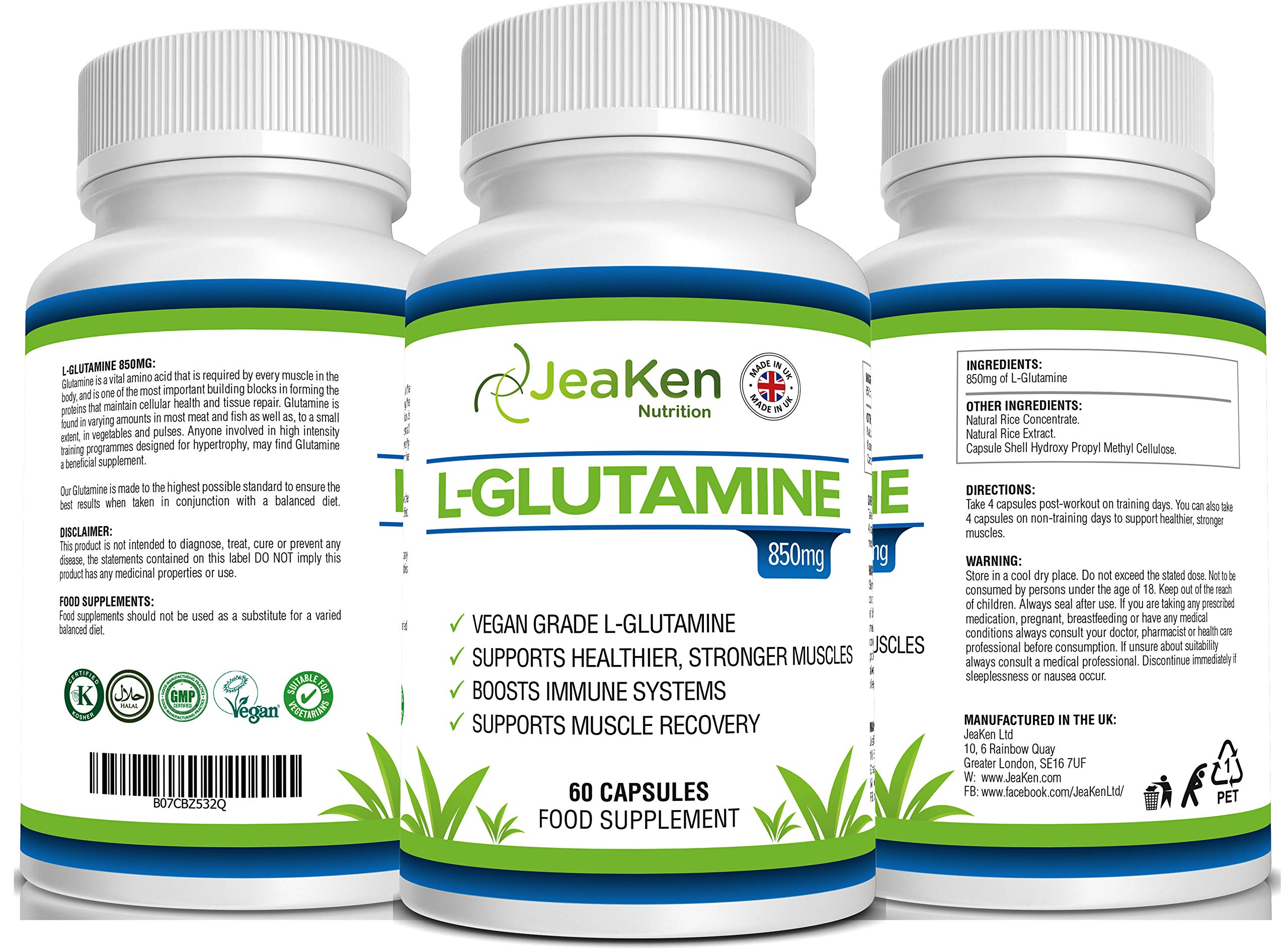 81Mx3o2C4uL - JeaKen - L-GLUTAMINE Capsules - from Essential Amino Acid Powder - Amino Acids Supplements to Boost Muscle Recovery…