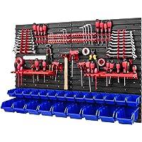 Lot de 23 boîtes à outils empilables - 1 152 x 780 mm - Avec porte-outils et 23 boîtes bleues - Étagère murale pour…