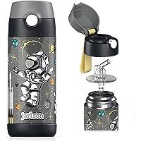 Jarlson® Borraccia Bambini Acciaio Inox, Bottiglia Termica, Senza BPA, Bottiglia Acqua con Cannuccia, Termos 350 ml…